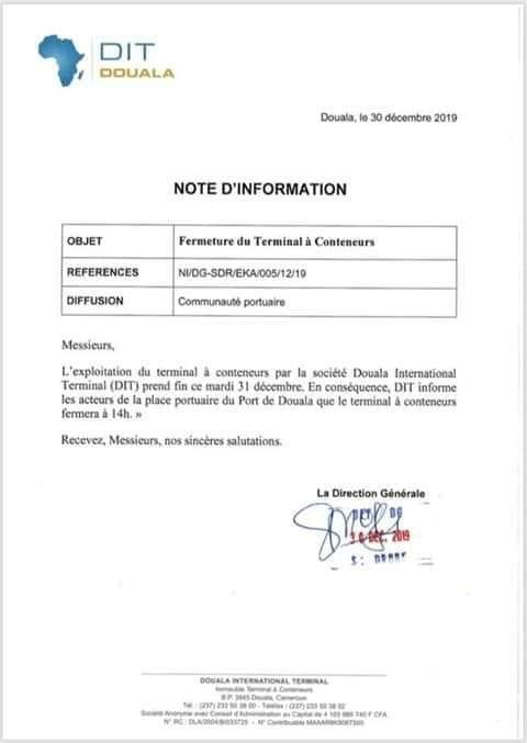 Le Terminal à conteneurs du Port autonome de Douala était géré depuis 15 ans par le groupe français. Sa gestion et sa maintenance seront désormais assurées à partir du 1er janvier 2020, par une régie déléguée créée par Cyrus Ngo'o, directeur général du PAD.