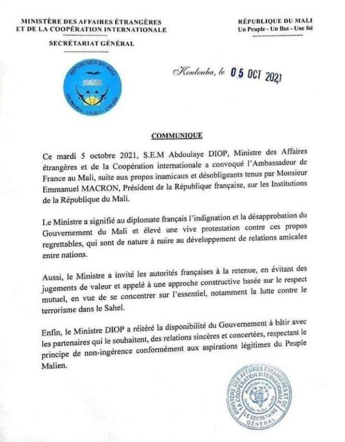 L'ambassadeur de France au Mali, Joël Meyer convoqué hier 5 octobre 2021 par le ministre des Affaires étrangères.